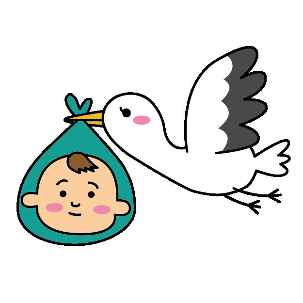 コウノトリが赤ちゃんを運んでくるイラスト
