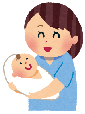 赤ちゃんをだっこしているお母さんのイラスト